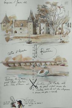 Le blog de yal - Fais des carnets de voyages quand je pars en voyage, et fais des pastiches de carnets de voyage quand je ne pars pas en voyage Sketch Journal, Artist Journal, Travel Sketchbook, Art Sketchbook, Contour, Book Page Art, Acrylic Painting For Beginners, Urban Sketching, Illustrations