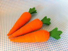 Felt carrots to feed the felt rabbits.