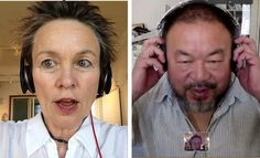Laurie Anderson and Ai Weiwei rehearsing a hip-hop collaboration via Skype for a performance, 2013 digital image