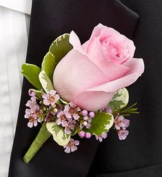 Pink Boutonniere :: A charming pink rose, pink waxflower and variegated pittosporum creates an elegant boutonniere for the groom, ushers, fathers, grandfathers, or treasured relatives. 15.00