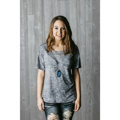Round Neck Top, Grey, 52% Polyester 48% Rayon