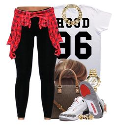 """""""Hood 96"""" by livelifefreelyy ❤ liked on Polyvore featuring Pyrex, Michael Kors, Versace, AllSaints, NIKE and River Island"""