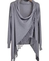 Chic Turtleneck Tasseled Knit Coat