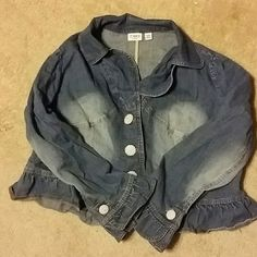 Denim Jacket Blue jean jacket.  Three buttons on the front and two on the arms (one on each arm). Cato Jackets & Coats Jean Jackets