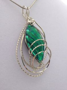 Silver Wire Wrapped Emerald Green Dichroic Necklace with Matching Earrings