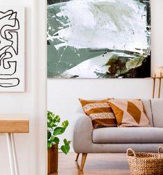 Large Abstract Landscape Painting Dan Hobday Art Large wall | Etsy Abstract Landscape Painting, Seascape Paintings, Landscape Art, Landscape Paintings, Green Wall Art, Orange Art, Minimal Decor, Using Acrylic Paint, Living Room Art