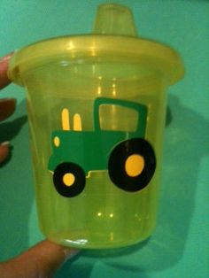 5 John Deere tractor yellow and green  sippy by passionforparties, $10.00