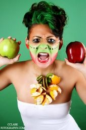 avant garde makeup green makeup fantasy hair apples oranges
