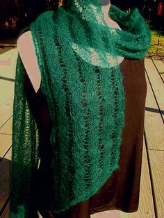 Clear Water Lacy Scarf - pattern from Haiku Knits, knit out of Madil Yarns Kid Seta, a luxurious soft mohair and silk blend