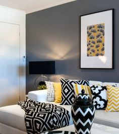Grey and Yellow Living Room Decor Ideas . 32 Elegant Grey and Yellow Living Room Decor Ideas . Living Room Grey, Home And Living, Modern Living, Modern Room, Small Living, Grey And Yellow Living Room, Grey Yellow, Dark Grey, White Rooms