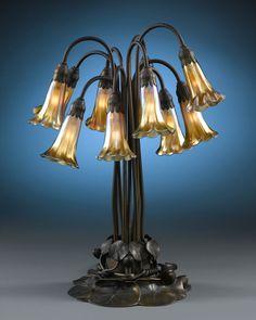 Tiffany Studios Antiques, Lily Lamp, Favrile Glass, Art Nouveau ~ M.S. Rau Antiques