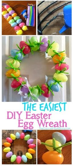 This adorable DIY Easter Egg Wreath is both easy and cheap (or free!) to make! A holiday craft that's perfect to do with kids.