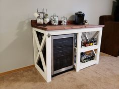 Rustic coffee bar with wine fridge.