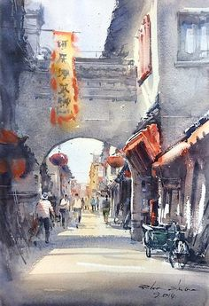 Direk Kingnok Watercolor artist Old Town in Suzhou 3 31 x 46 cm.