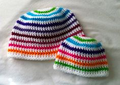 Rainbow striped beanie by EnglishHouseCrafts on Etsy, $10.00