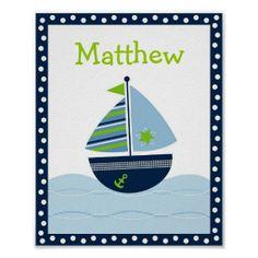 Sailboat Nautical Nursery Wall Art Name Print