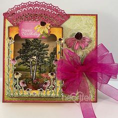 Country Garden Birthday Card - has been created with the Backyard Blossoms Collection from Heartfelt Creations! Creating unique and one of a kind birthday cards is easy with craft supplies from Heartfelt Creations! This card has a dimensional shadowbox which is perfect for creating a nature scene! #HeartfeltCreations #papercraft #handmadecard #diycrafts #shadowboxcard #diy #makeandcreate #cardmaking #papercrafts #summer #coneflower #uniquebirthdaycard #friendship #craftsupplies #diecutting