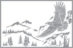 Glass etching stencil of Eagle Flying over Mountain Scene. In category: Birds of Prey, Trees