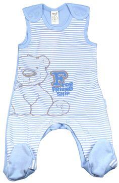 Pyjama bébé sans manches bleu à rayures - Pyjamas bébé garçon