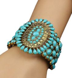 Boho Blue Stone Encrusted Necklace Or Cuff