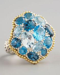 Y11UY Lagos Ombre Ring, Blue Topaz