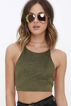 Slick Chick Olive Green Suede Crop Top at Lulus.com!