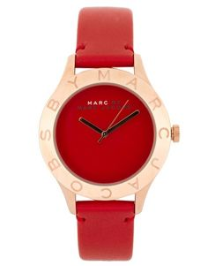 Enlarge Marc By Marc Jacobs Red Leather Strap With Rose Gold Face Watch