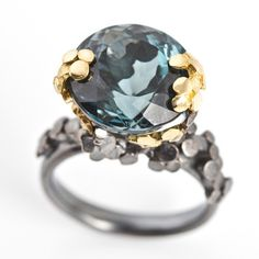 Rock Pool Ring in tourmaline, oxidised silver and 18ct gold, inspired by the Cornish coastline.