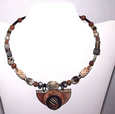 Women's Necklace Handcrafted Plastic Brown White Silver Wooden Beads Beaded