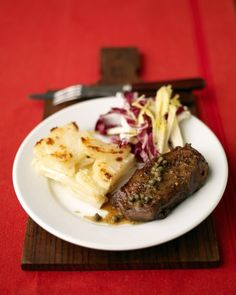 Watch as Allie Lewis prepares an easy and elegant steak with wine sauce and potato gratin.