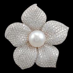 Cartier Diamond & Pearl Flower