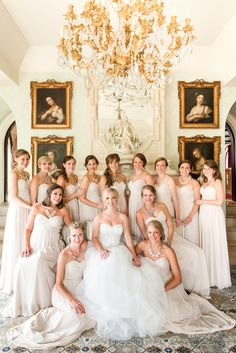 An Elegant Country Estate Wedding at Dover Hall. Large Bridal Party. Black Tie Wedding. Neutral Long Bridesmaid Dresses.