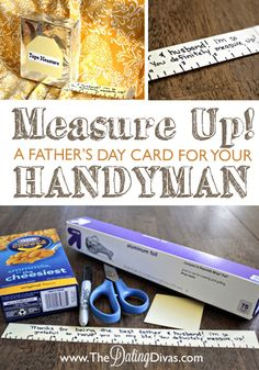 A quick tutorial for a Father's Day card disguised as a measuring tape!  This would be perfect paired with a new set of tools. www.TheDatingDivas.com #fathersday #DIY #card
