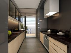 Service apartment interior design - modern compact kitchen with stone and wood