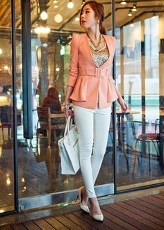 Chic Plunging Neck Flounce Hem Belted Shoulder-Padded Long Sleeves Blazer For Women (PINK,XL) China Wholesale - Sammydress.com