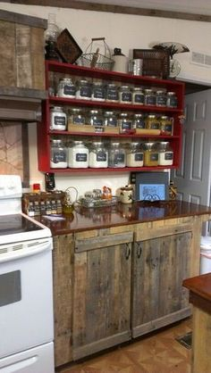 Country Kitchen - rustic cabinets, and the shelf with the clear jars/canisters... - http://centophobe.com/country-kitchen-rustic-cabinets-and-the-shelf-with-the-clear-jarscanisters/ -