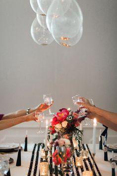 Glitter filled balloons chandelier