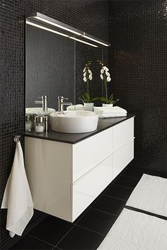 Ikea godmorgon odensvik sink cabinets with four drawers and lillholmen wall lamps and - Ikea mobili bagno godmorgon ...