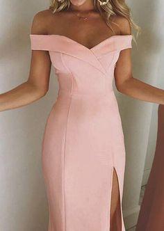 Sheinstreet spring and summer Collarless Slit Plain Evening Dresses Prom Dresses Long Pink, Homecoming Dresses, Evening Dresses, Graduation Dresses, Bohemian Summer Dresses, Spring Dresses, Elegant Dresses, Formal Dresses, Party Dresses