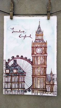 - Artwork from my home to yours by TheWeatheredWall City Drawing, Painting & Drawing, Art And Illustration, Hand Kunst, London Drawing, Architecture Drawing Art, Art Drawings Sketches Simple, London England, Oxford England