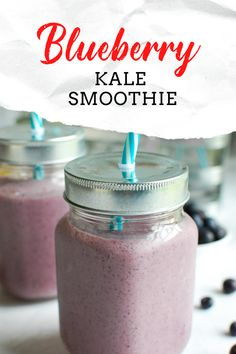 Blueberry Kale Smoothie is a nutritious way to start your day or mid-day snack. Blueberries, banana, Greek yogurt, milk and kale are blended together into a sweet smoothie. This is a kid and adult favorite in my house full of antioxidants! Fruit Recipes, Drink Recipes, Smoothie Recipes, Healthy Recipes, Healthy Eats, Blueberry Kale Smoothie, Fruit Smoothies, Healthy Smoothies, Delicious Dinner Recipes