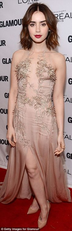 Lily Collins in Julien MacDonald | #Glamour #WOTY Awards