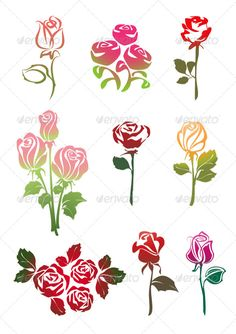 Icons Set of Colored Roses by ecelop Six video surveillance symbols, triangular shape These are editable vector files. Available RGB color Attached ZIP folder co Flower Art Drawing, Floral Drawing, Flower Nail Art, Drawing Art, Watercolor Projects, Watercolor Art, Rose Stencil, Free Vector Clipart, Colored Pencil Techniques