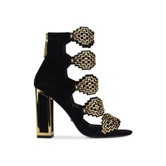 Kat Maconie Thea Sandals (375 CAD) ❤ liked on Polyvore featuring shoes, sandals, black, black embellished sandals, black open toe sandals, geometric shoes, open toe shoes and black block heel shoes