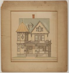 Front elevation of two-and-a-half story dwelling, undated | Jacob Luippold architectural collection (AR016) -- Historic New England