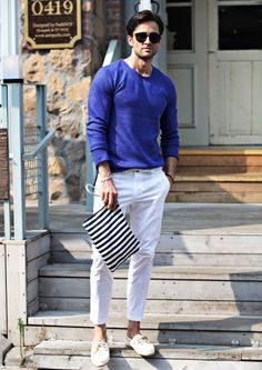 Blue Cuff Sweater with white pants | Men's Fashion for Summer www.designerclothingfans.com