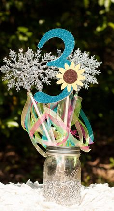 Frozen Fever Party Number ADD ON to Snowflake Wands Party Favors Centerpiece Table Decoration