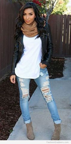 Awesome classic Fall Outfit with black leather biker jacket, brown scarf, white top, ripped denim, & boots