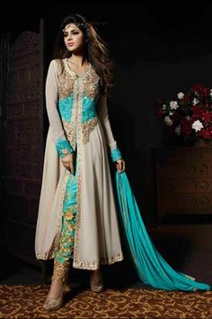 GREY & BLUE GEORGETTE EMBROIDERED SALWAR KAMEEZ