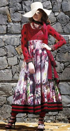 $76.64 Red Embroidered Full Sleeve printed Anarkali Suit 24504